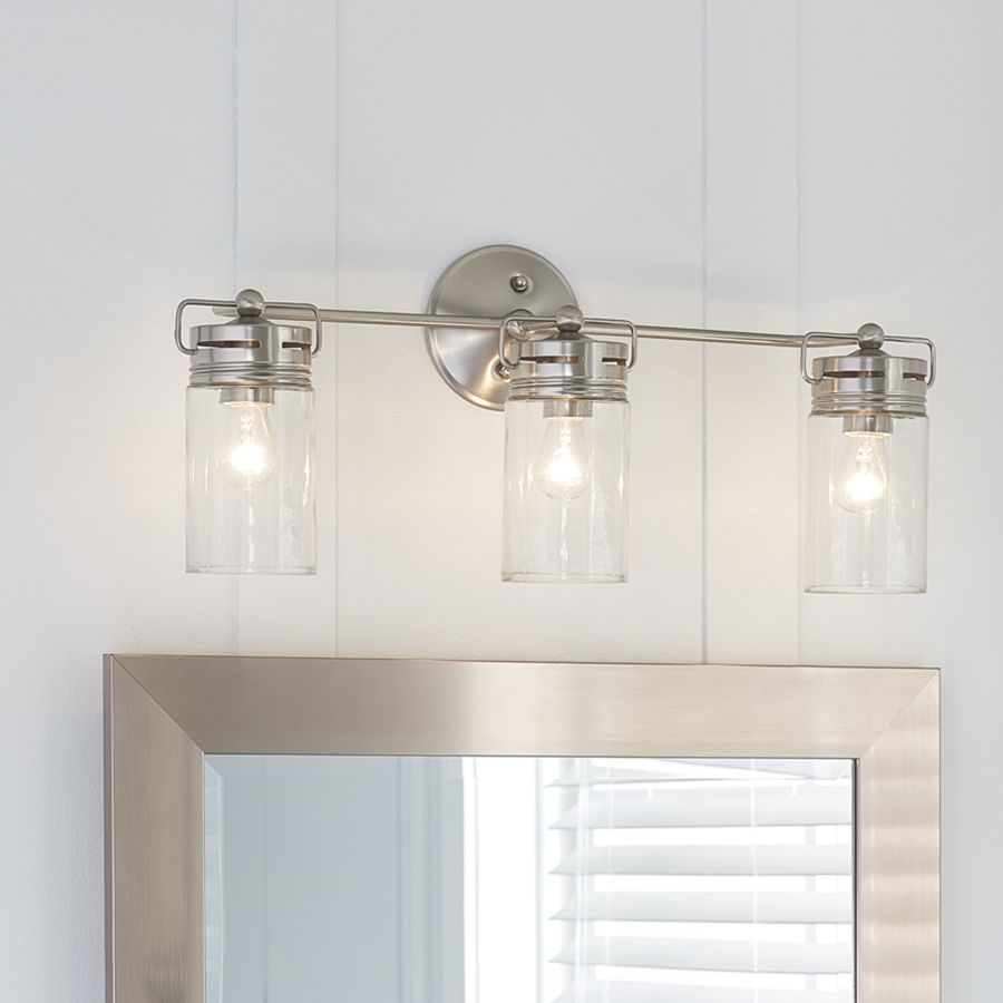 Allen Roth 3 Light Vallymede Brushed Nickel Bathroom Vanity Light For  Proportions 900 X 900