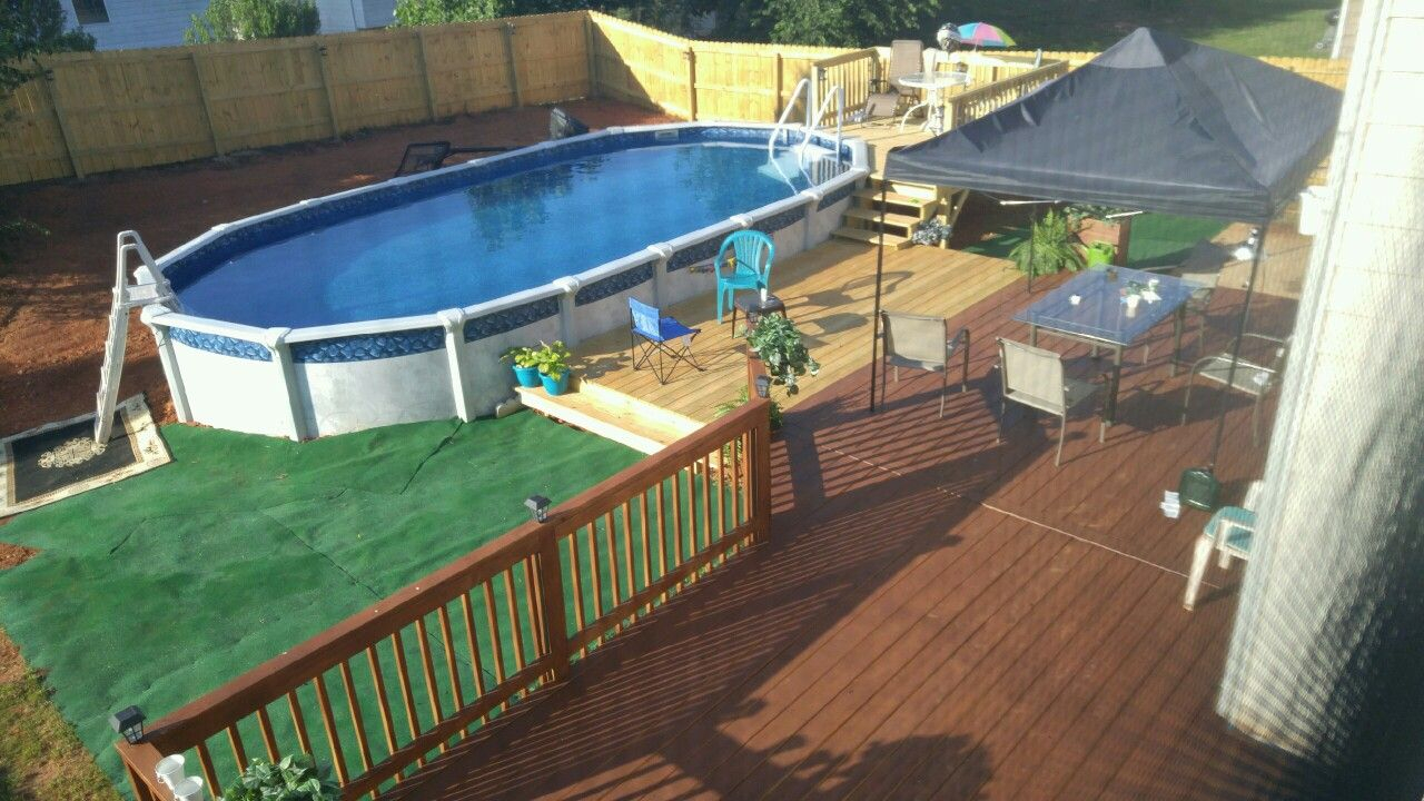 15 X 30 Oval Pool Multilevel Deck Outdoor Carpet No Place Like regarding dimensions 1280 X 720