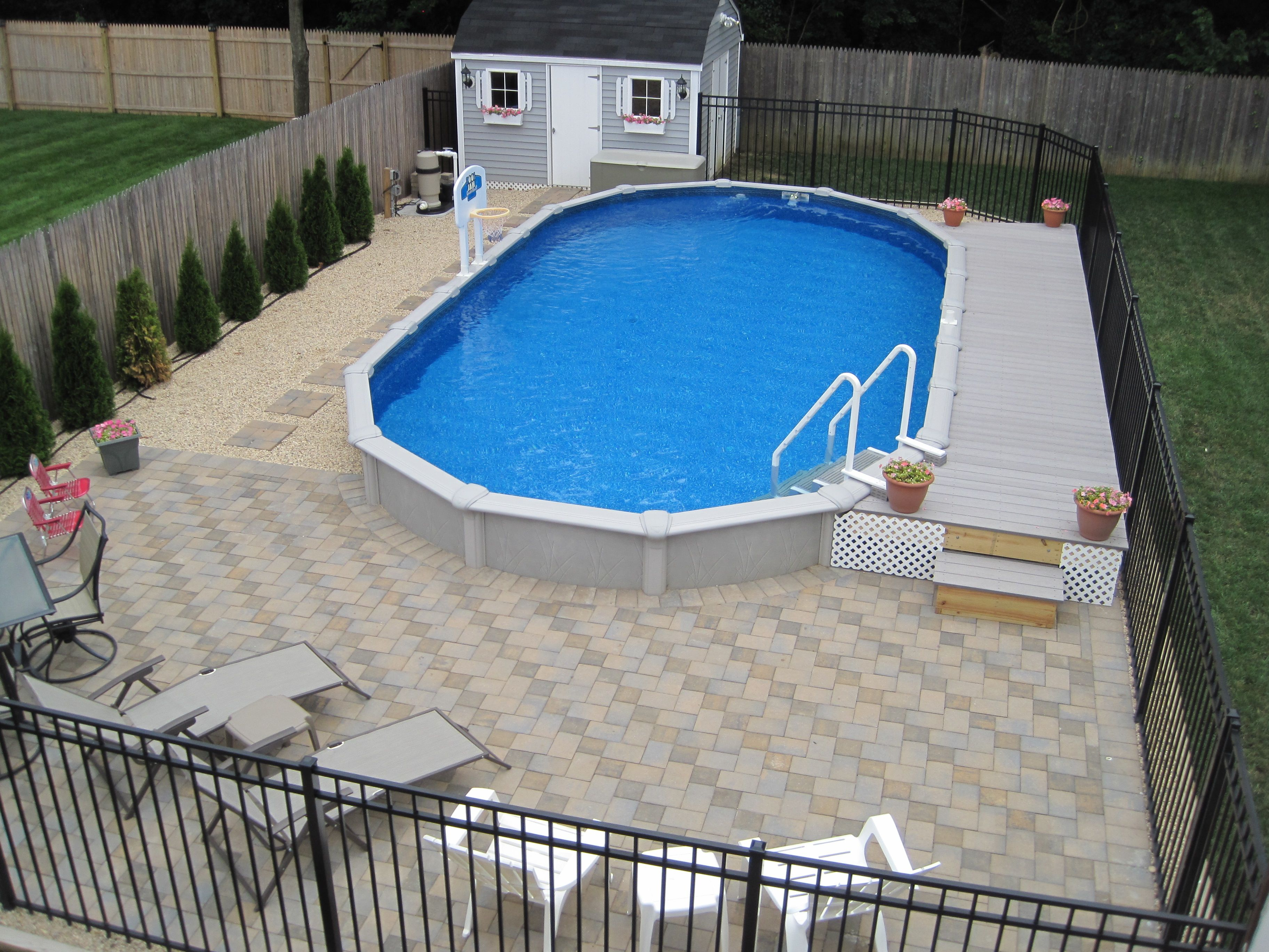15x30 Sharkline Semi Inground Pool With Deck And Pavers Brothers 3 inside dimensions 3648 X 2736