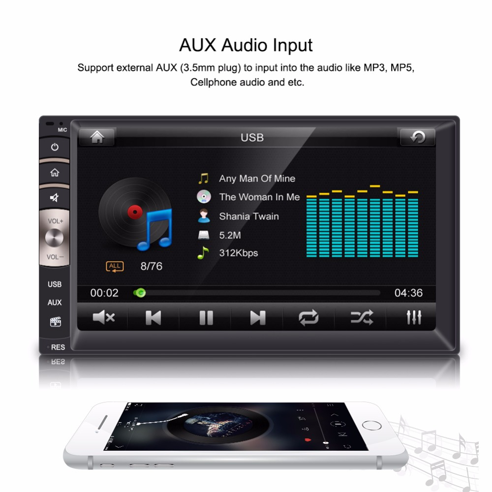 7inch 2 Din Hd Bluetooth Touch Screen Car Stereo Fm Radio Mp5 Player pertaining to measurements 1000 X 1000