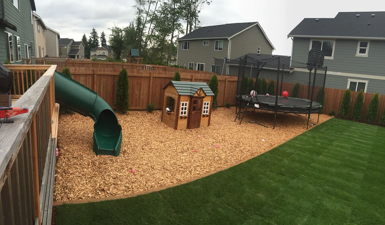 Backyard Update Play Area With Slide Off The Deck Playhouse And inside measurements 1334 X 780