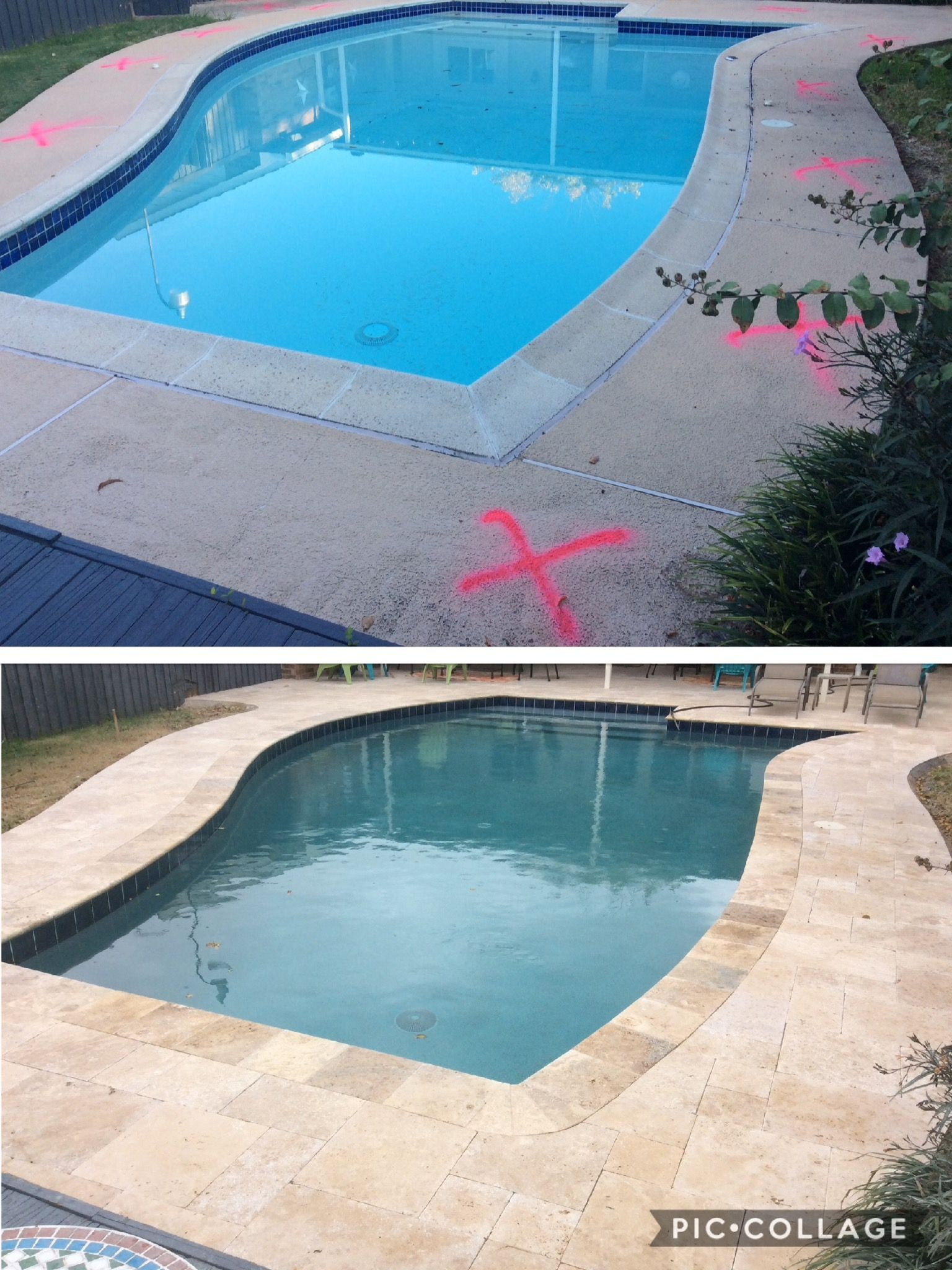 Before After From A Concrete Deck And Coping To Travertine Deck throughout dimensions 1536 X 2048