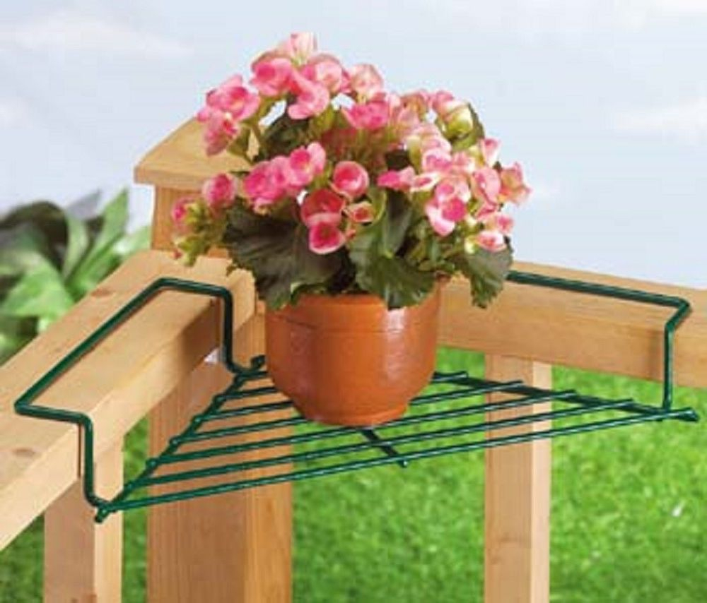 Corner Deck Railing Planter Flower Pot Rail Wire Shelf Balcony Plant intended for proportions 1000 X 854