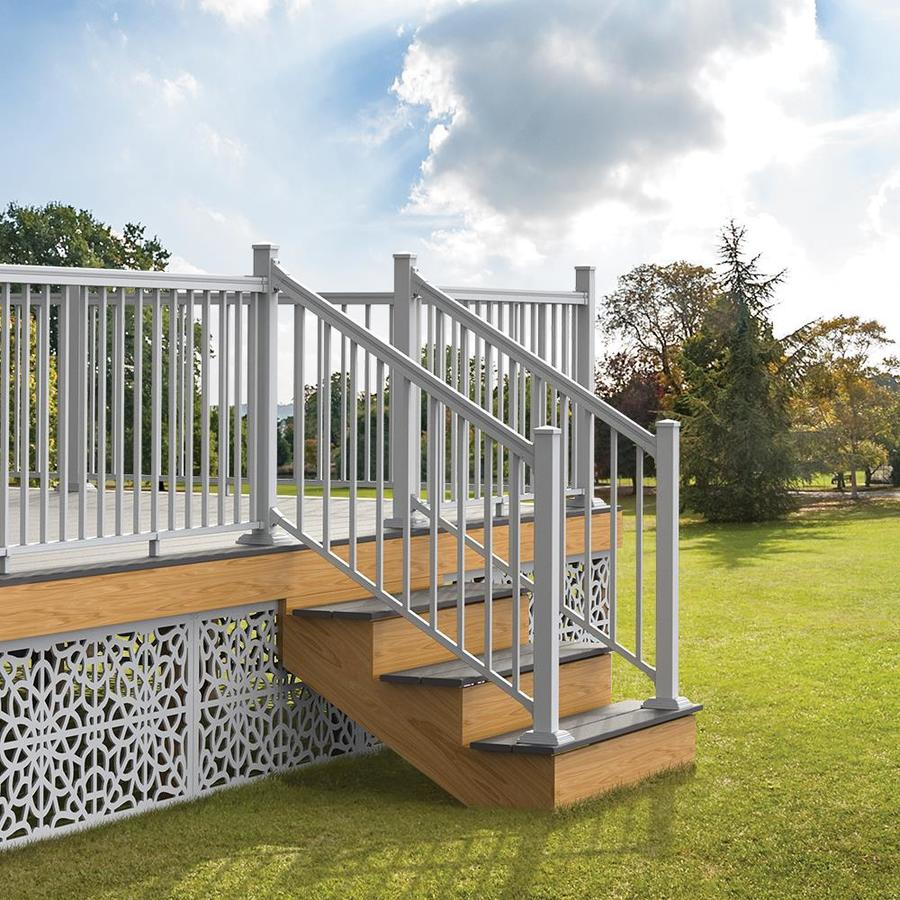 Freedom Assembled 6 Ft X 3 Ft Versarail Stair White Aluminum Deck for dimensions 900 X 900