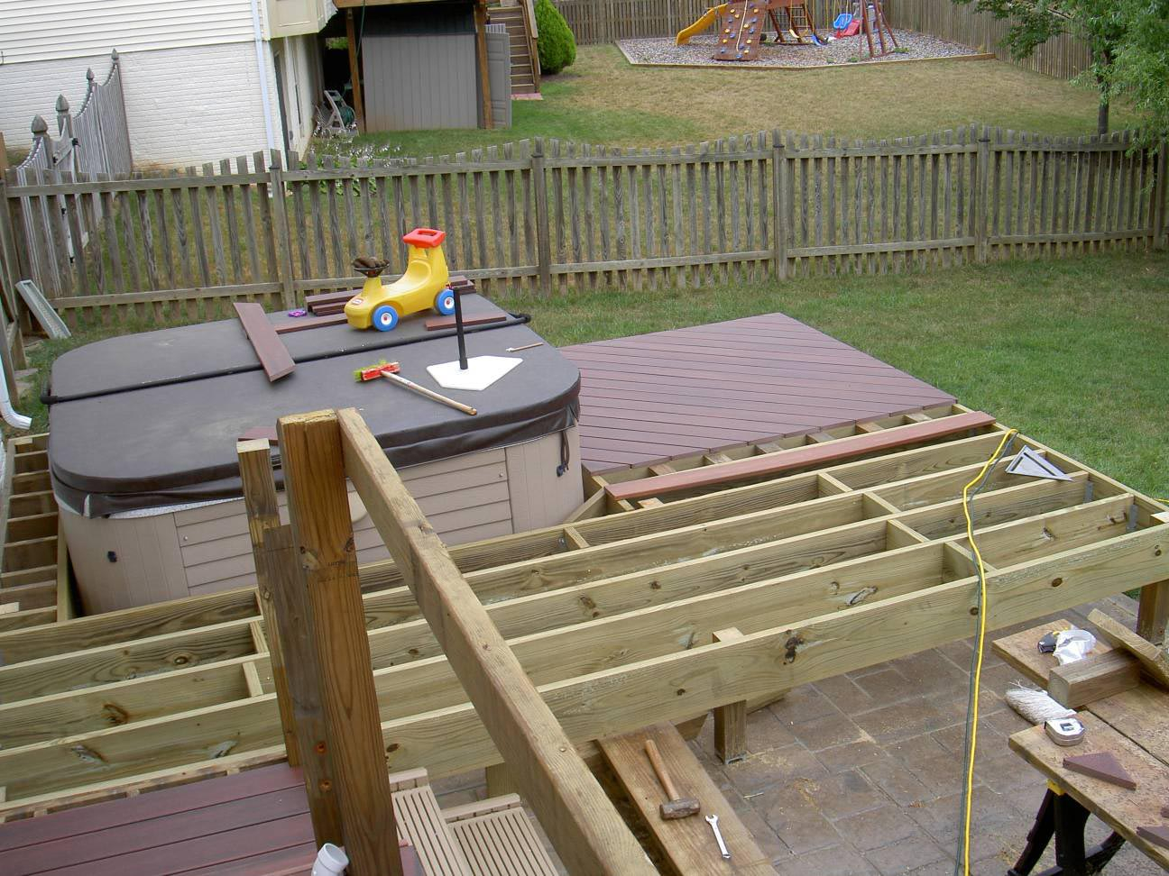 In Deck Hot Tub Backyard Design Ideas intended for sizing 1296 X 972
