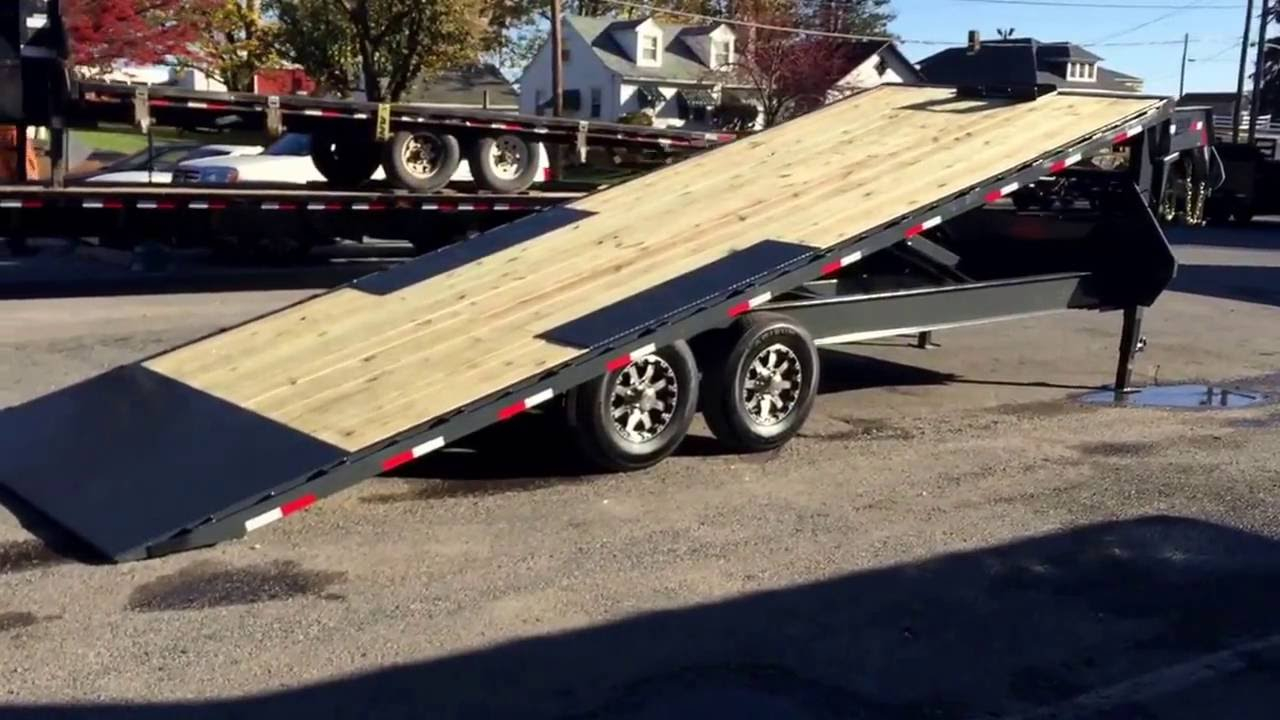 Lamar Fa14 Gooseneck Deckover Flatbed Hydraulic Power Tilt Trailer 102x22 14000 Gfa022427 throughout size 1280 X 720