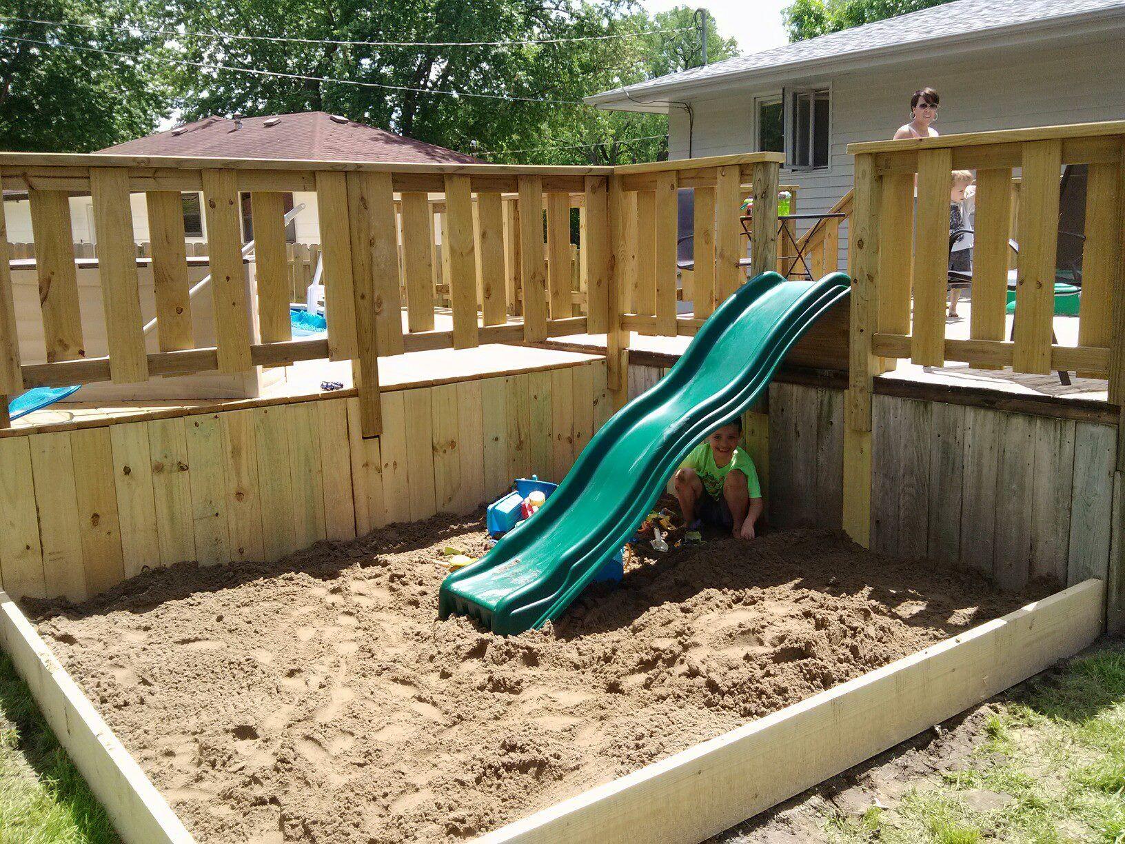 Sandbox With Slide Off Of Deck Pool Stuff In 2019 Deck Slide regarding proportions 1632 X 1224