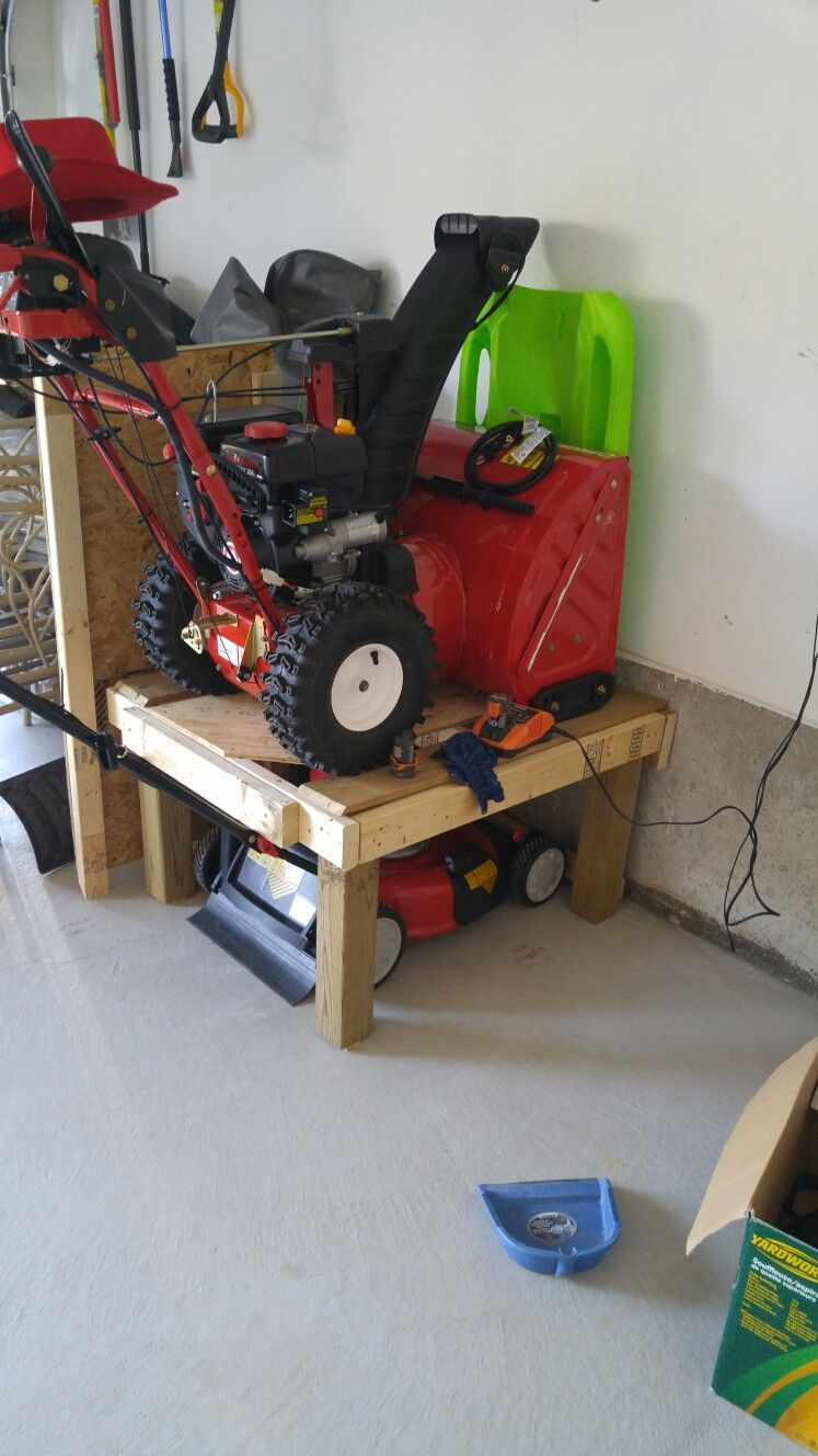 Space Saver For Garage Lawn Mower And Snow Blower On Top throughout measurements 747 X 1328