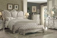 Acme Versailles Upholstered Bedroom Set In Ivory Velvetbone White regarding measurements 2226 X 1195