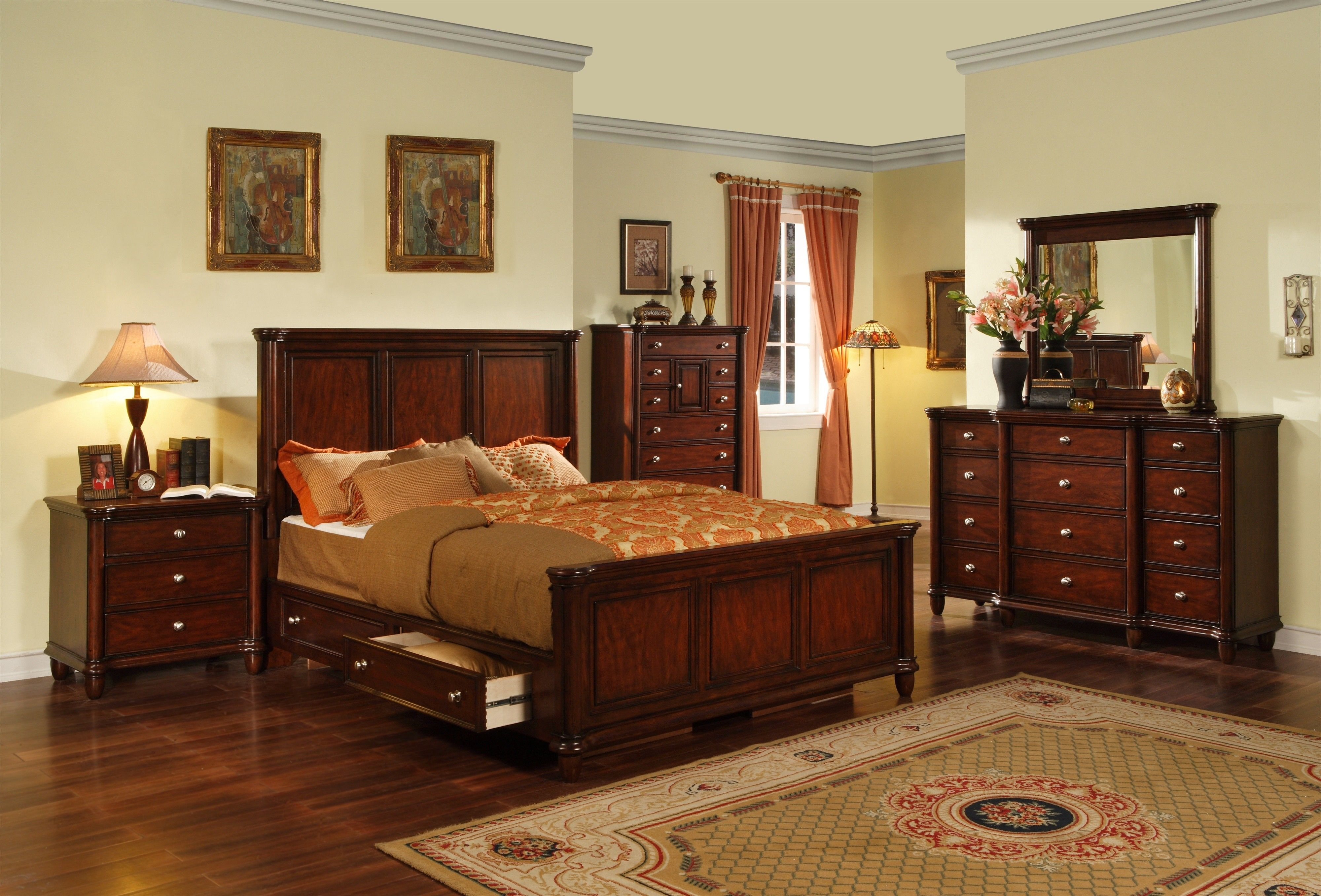 Hamilton Cherry King Bedroom Set Bedroom Sets Bedroom Gallery intended for dimensions 4000 X 2714