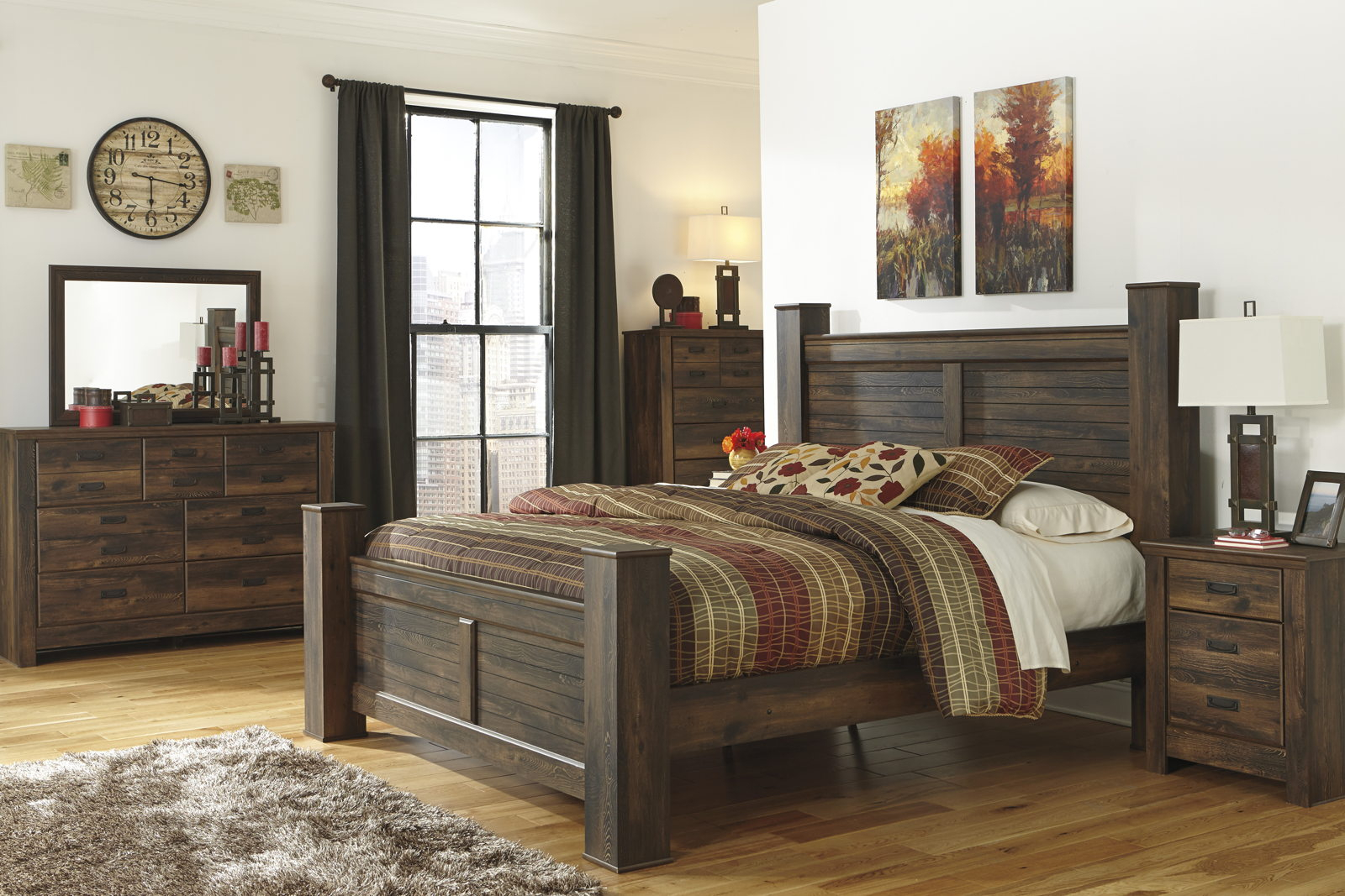 Quinden Rustic Poster Bedroom Set In Dark Brown with regard to dimensions 1600 X 1067