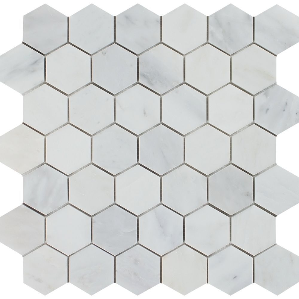 2 X 2 Polished Oriental White Marble Hexagon Mosaic Tile regarding dimensions 1000 X 1000