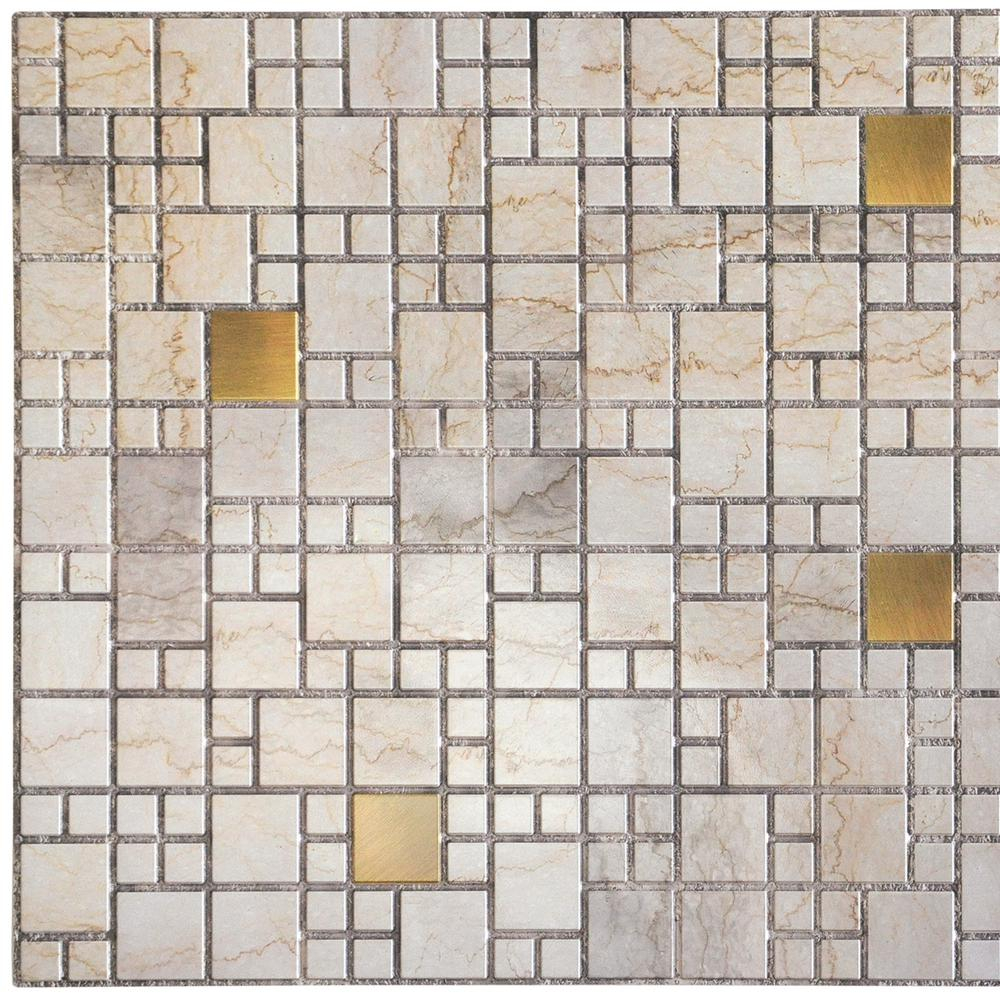 3d Falkirk Retro 101000 In X 38 In X 19 In Beige Faux Marble With Gold Squares Pvc Wall Panel with regard to size 1000 X 1000
