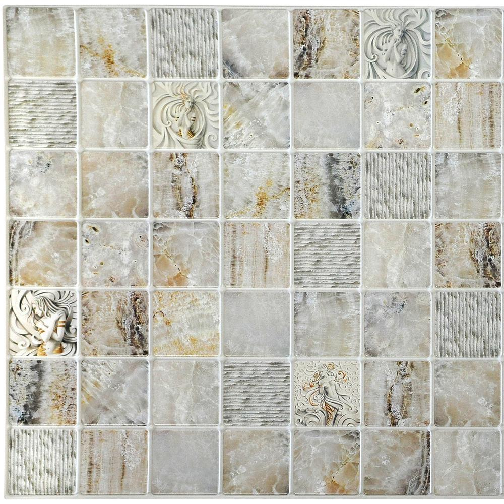 3d Falkirk Retro 101000 In X 38 In X 19 In Beige Grey Faux Venecian Marble In Squares Pvc Wall Panel inside size 1000 X 1000
