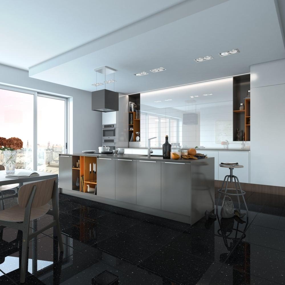 Black Quartz 60cm X 60cm Wall Floor Tile with size 1000 X 1000