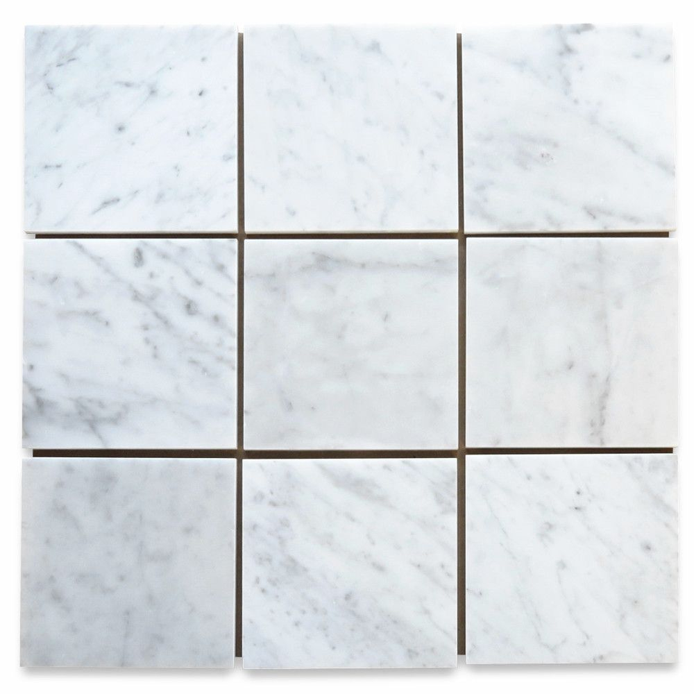 Carrara White 6x6 Tile Honed Marble From Italy with dimensions 1000 X 1000
