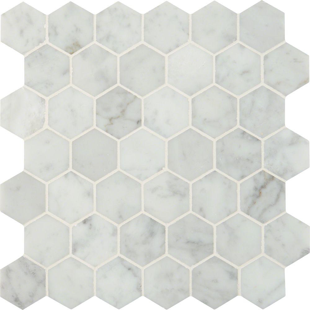 Marble Mosaic Hex Tiles • Bulbs Ideas