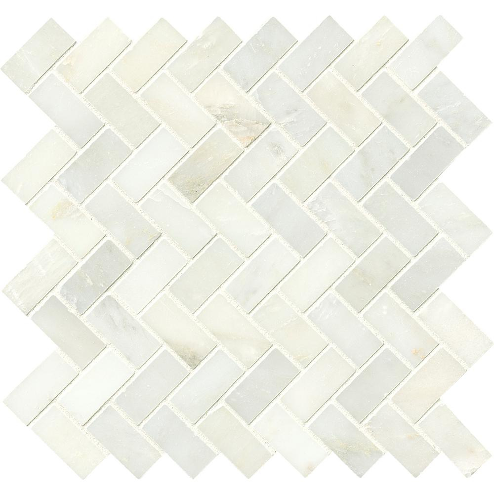Msi Greecian White Herringbone Pattern 12 In X 12 In X 10 Mm Polished Marble Mesh Mounted Mosaic Tile 10 Sq Ft Case inside size 1000 X 1000
