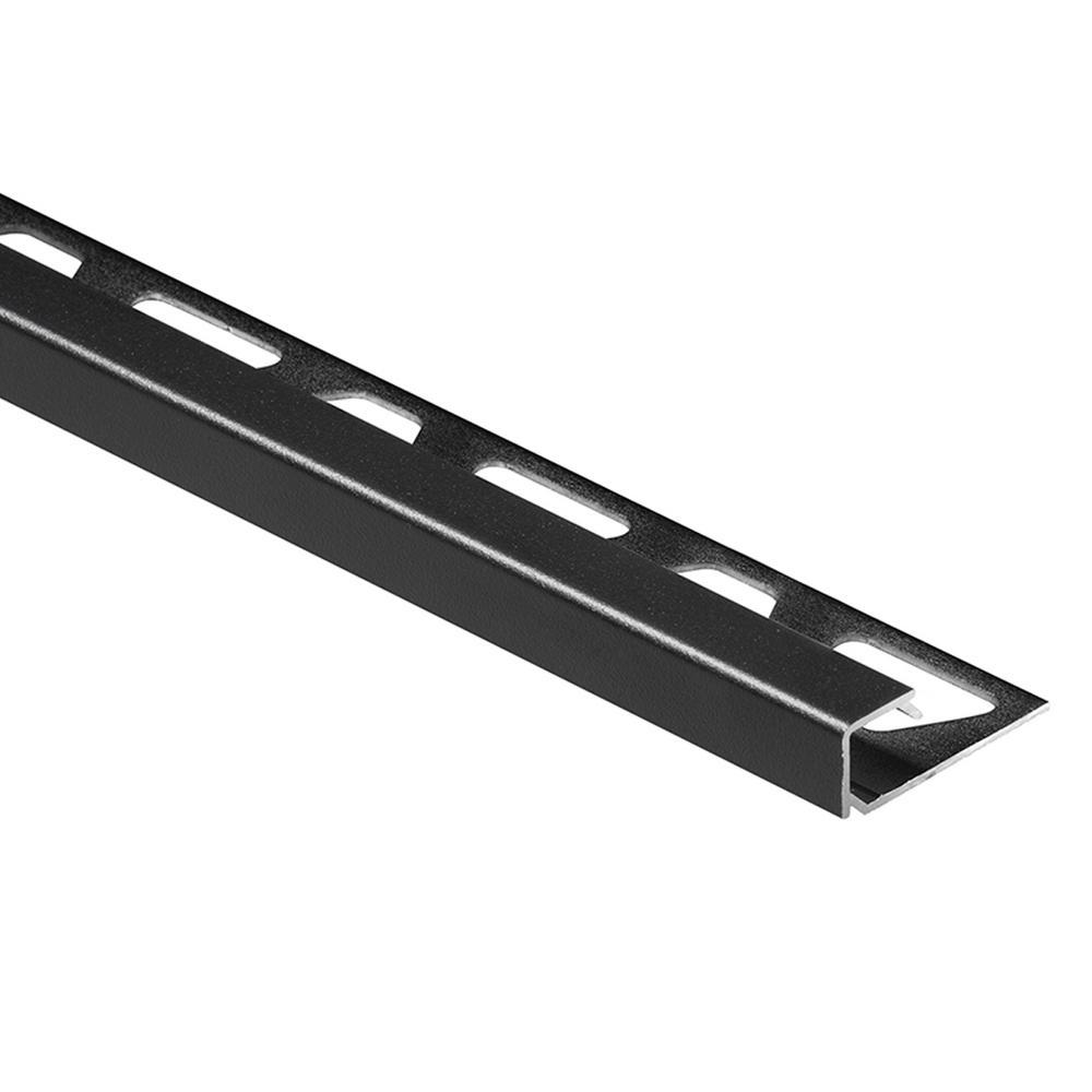 Schluter Quadec Matte Black Textured Color Coated Aluminum 316 In X 8 Ft 2 12 In Metal Square Edge Tile Edging Trim in proportions 1000 X 1000
