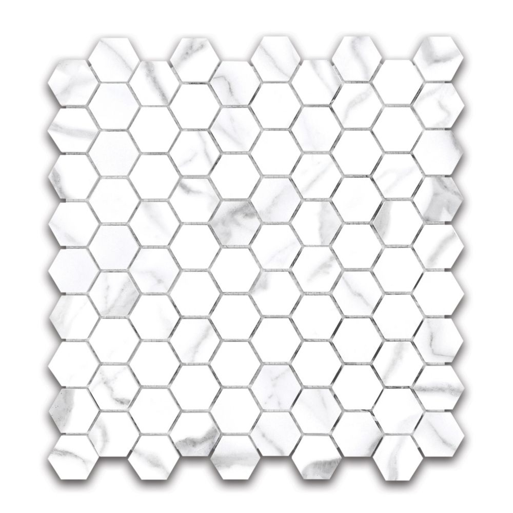 Statuario 125 Inch X 125 Inch Hexagon Polished Porcelain throughout dimensions 1000 X 1000