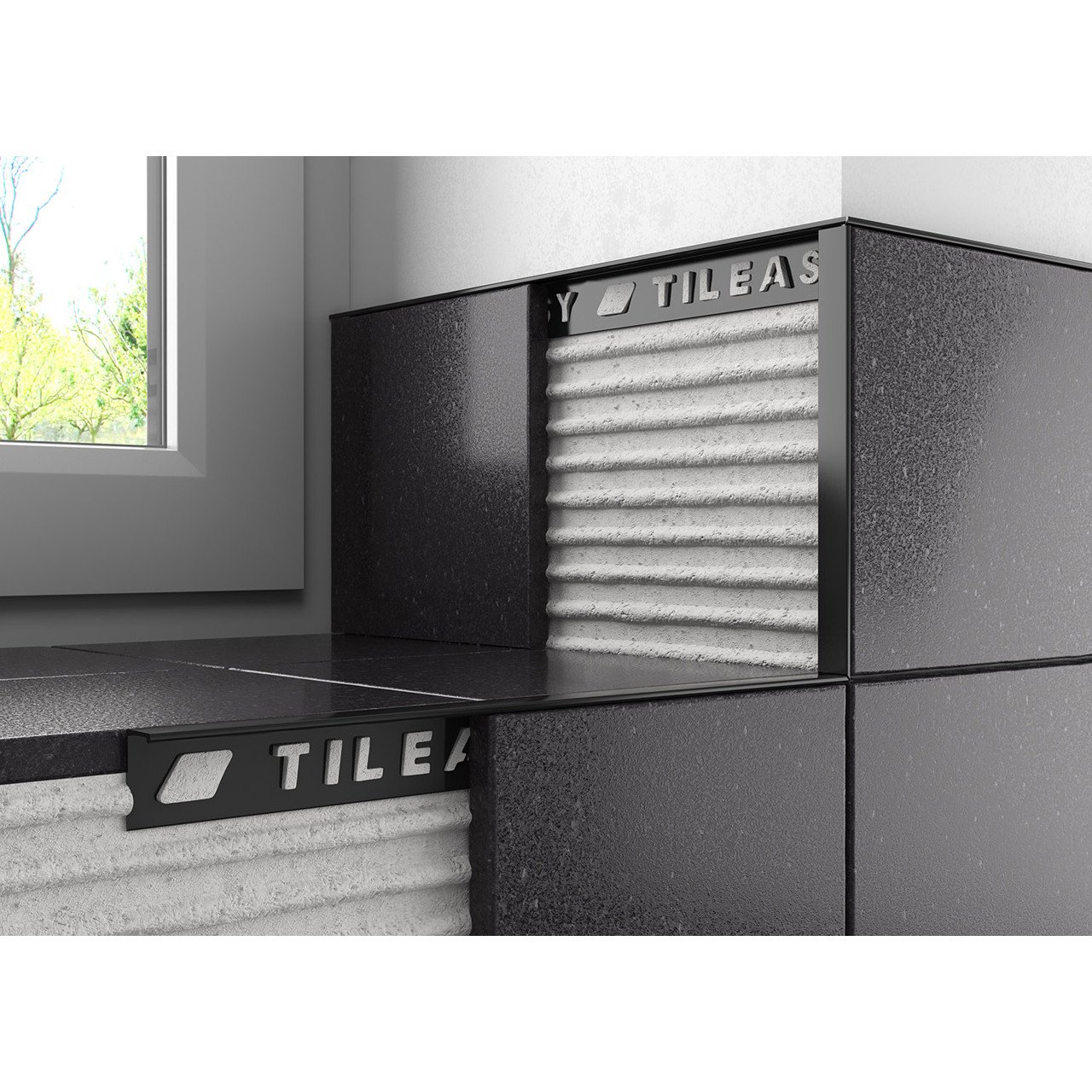 Tileasy 10mm Black Square Edge Metal Tile Trim Bat10 within proportions 1280 X 1280