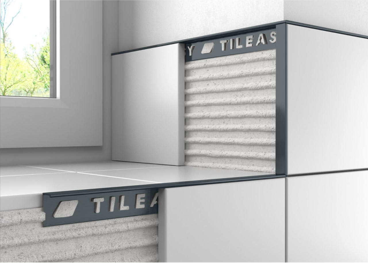 Tileasy 10mm Cobalt Grey Square Edge Metal Tile Trim Cgat10 for proportions 1280 X 915